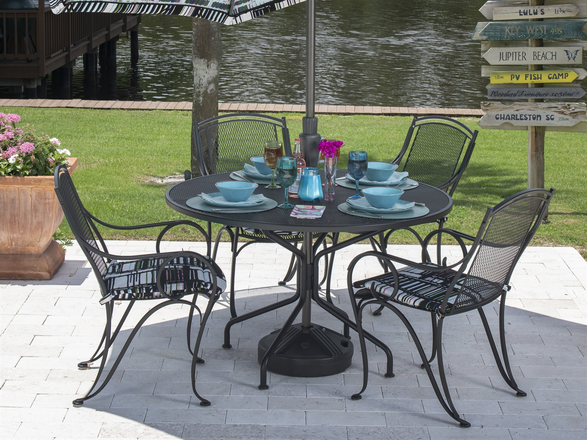 e16d06b85f78 Woodard Wrought Iron 48 Round Umbrella Table 8 Spoke - Inspirational ...