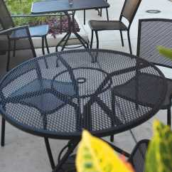 Iron Chair Price Parsons Slipcover Patterns Woodard Mesh Wrought 48 Round Table With Umbrella