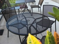 Woodard Mesh Wrought Iron 48 Round Table with Umbrella ...