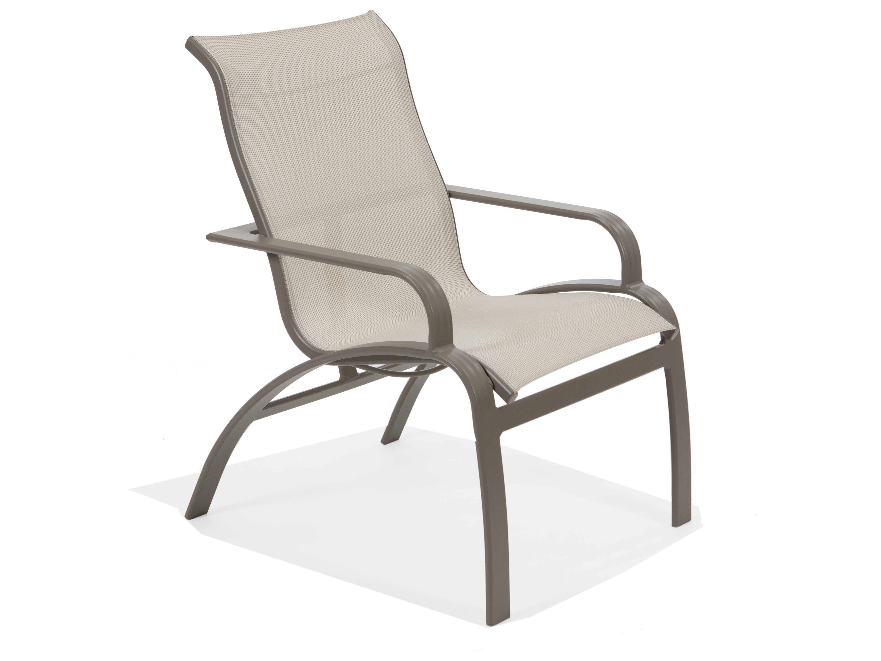 sling back patio chairs folding quad chair parts winston evolution aluminum high arm dining