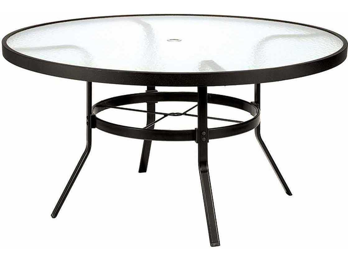 winston obscure glass aluminum 54 round dining table with umbrella hole