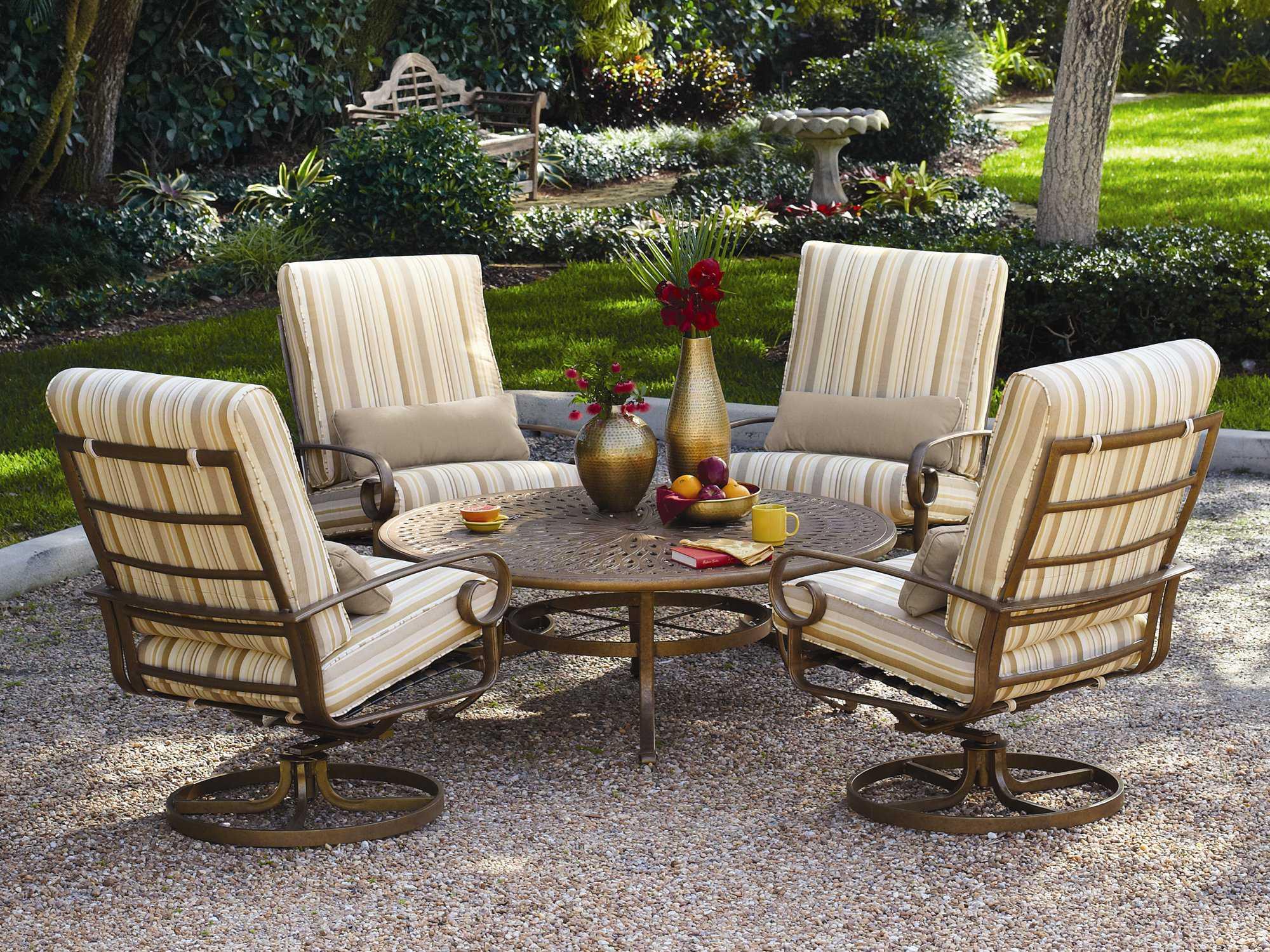 front porch lounge chairs white rattan chair winston veneto cushion cast aluminum ultra swivel tilt arm