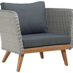 Grey Weave Garden Chairs Lifeguard Chair Plans Zuo Outdoor Grace Bay Acacia Wood Synethetic Arm
