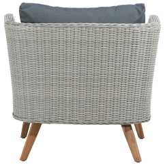 Grey Weave Garden Chairs Zebra Print Accent Chair Zuo Outdoor Grace Bay Acacia Wood Synethetic Arm