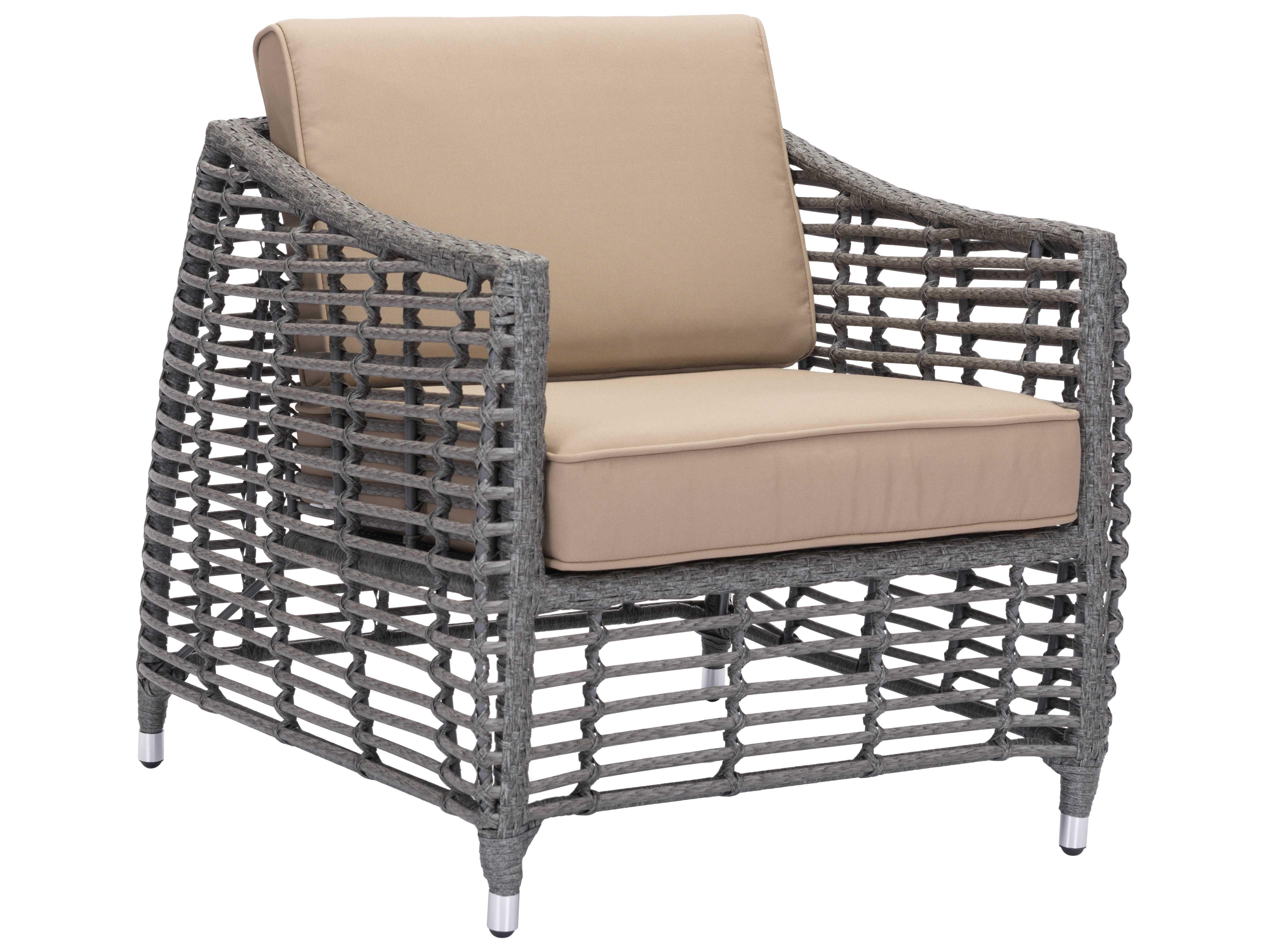 grey patio chair covers bedroom pakistan zuo outdoor trek beach aluminum wicker arm in gray