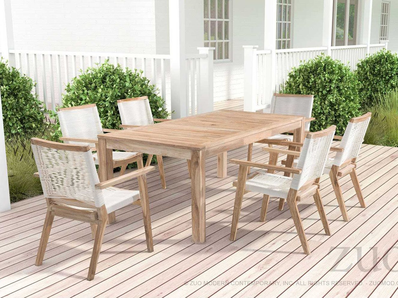 Zuo Outdoor West Port Teak Synethetic Weave Dining Chair