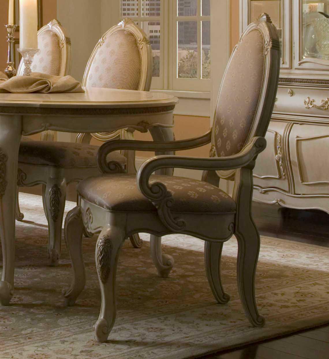 Aico Furniture Michael Amini Lavelle Blanc Dining Arm Chair Aic5400404