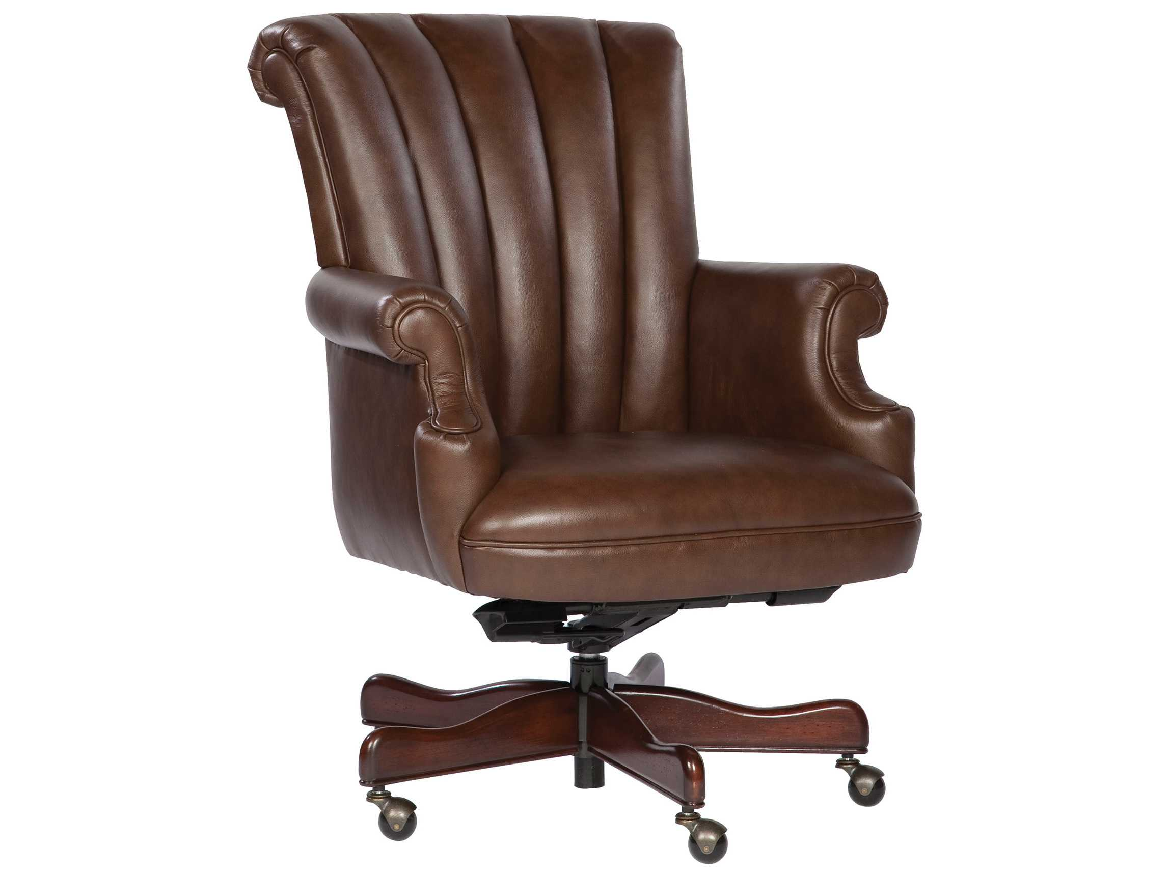 Executive Leather Chair Hekman Office Executive Ribbed Back Leather Chair In Coffee