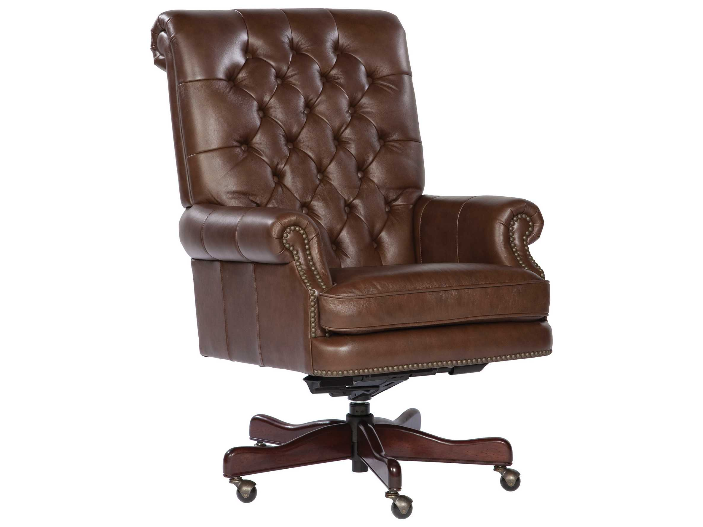 Executive Leather Chair Hekman Office Executive Tufted Back Leather Chair In Coffee
