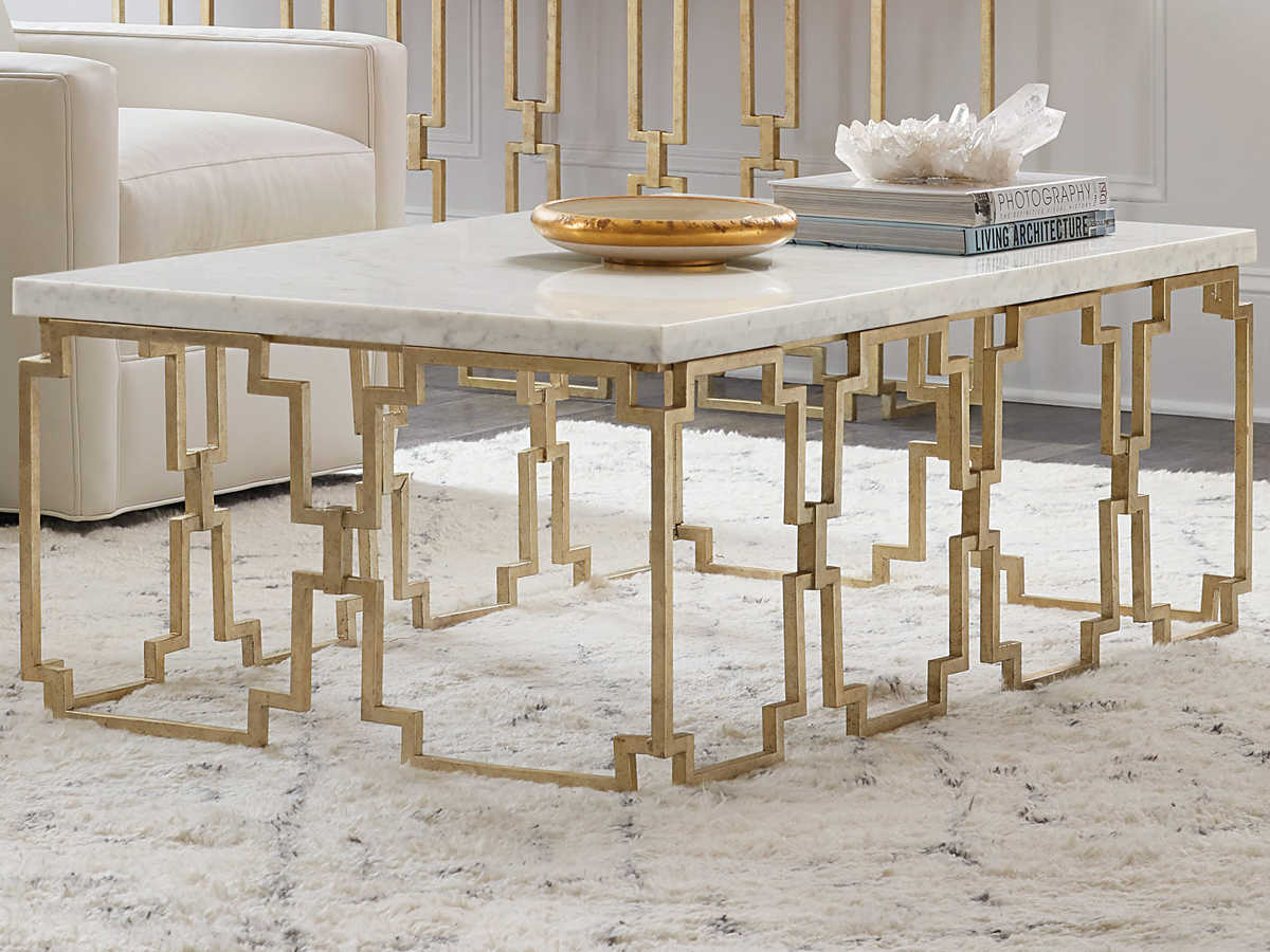 Hooker Furniture Evermore Kala White Marble Gold 52 Wide Rectangular Coffee Table Hoo16878011000