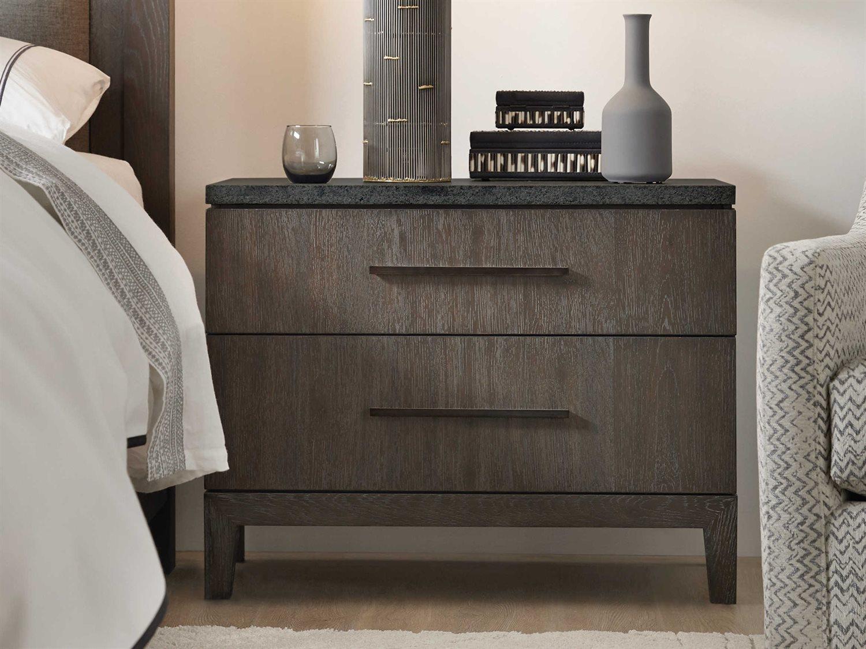 hooker furniture miramar aventura black stone dark wood 2 drawers nightstand