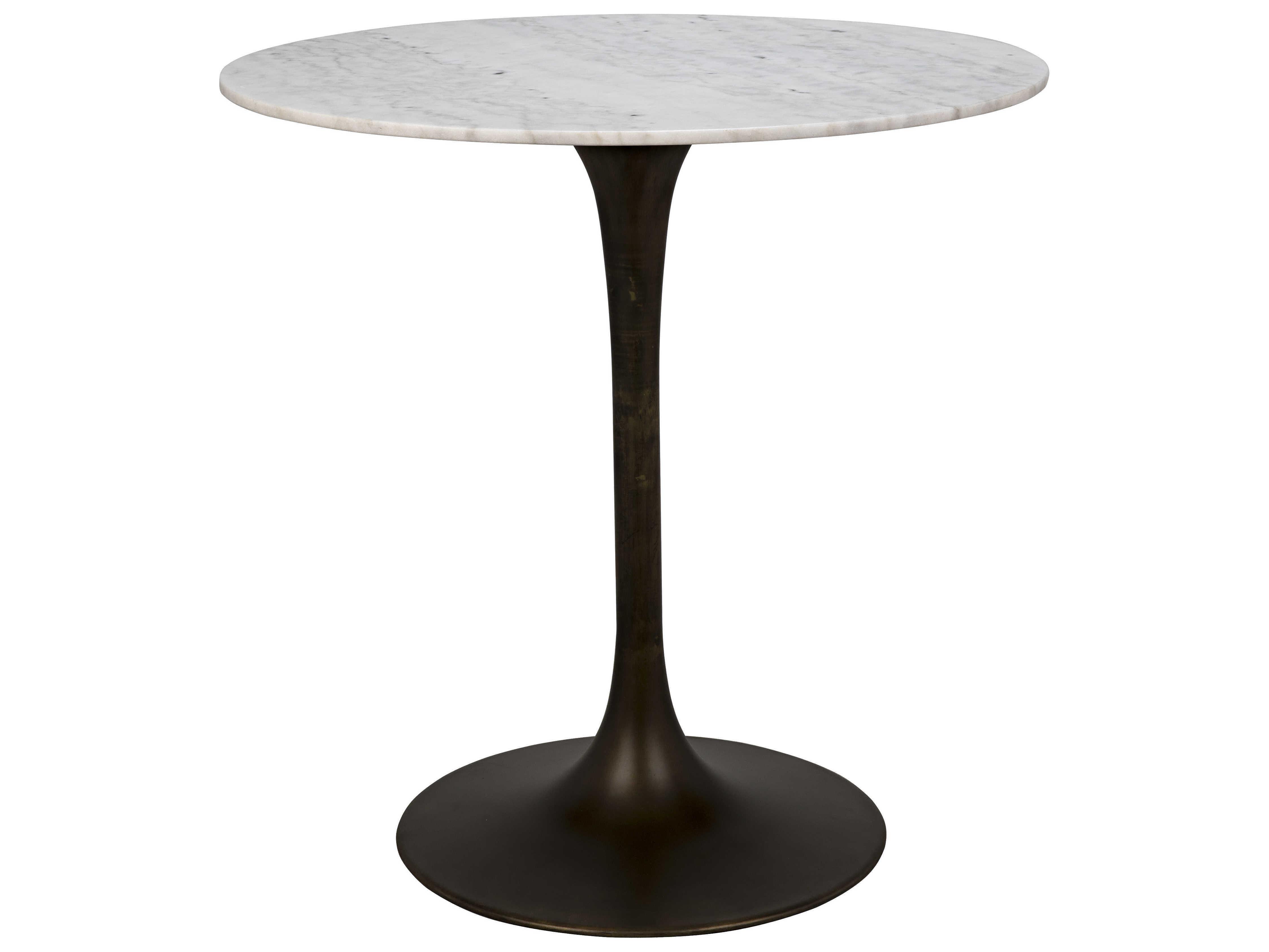 Noir Furniture Aged Brass 40 Wide Round Bar Height Dining Table Noigbar001ab40