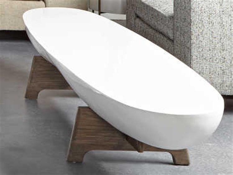 sonder distribution danica white acrylic 72 w x 19 d oval coffee table