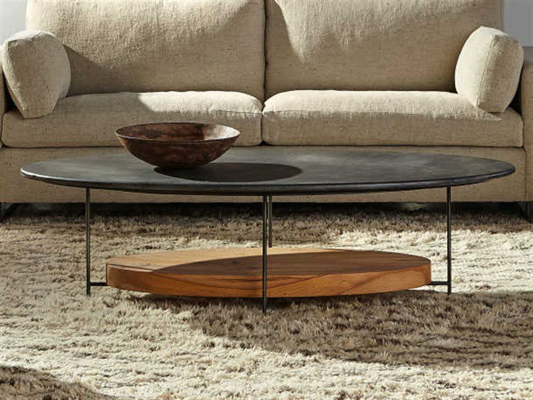 sonder distribution olivia black marble with reclaimed french oak 60 w x 30 d oval coffee table