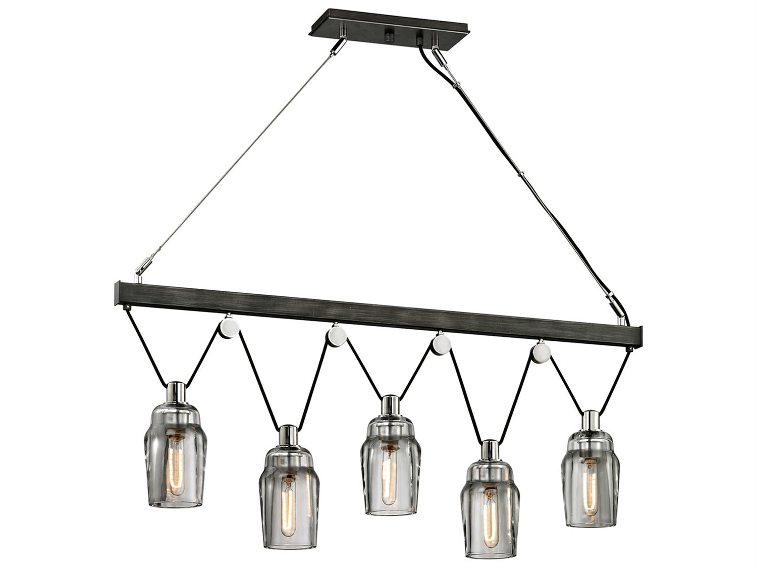 Troy Lighting Citizen Graphite Amp Polished Nickel Five