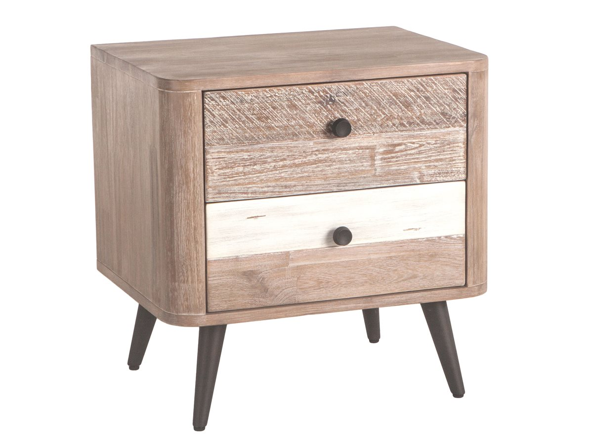 World Interiors Newport Whitewash Weathered Gray Antique Black Lacquer 2 Drawers Nightstand