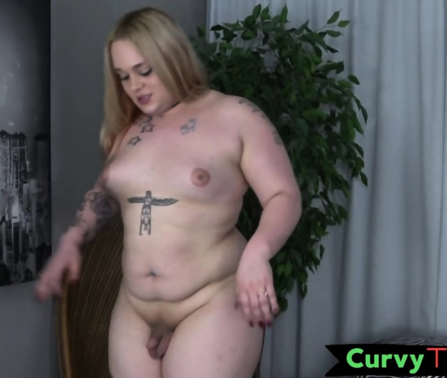 Chubby Shemale Cums After Masturbating Scene 1