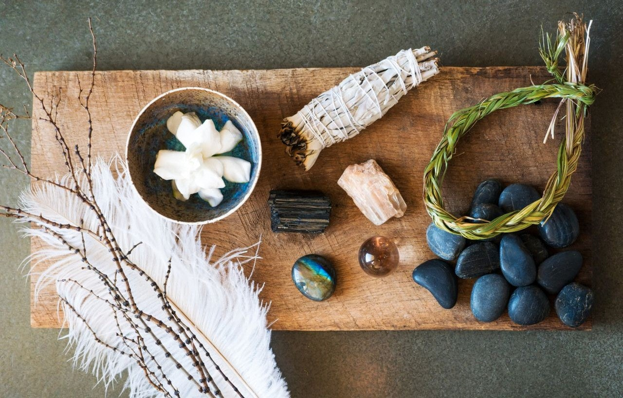 Turquoise and citrine crystals can bring a mindful and relaxed energy to our dining spaces.