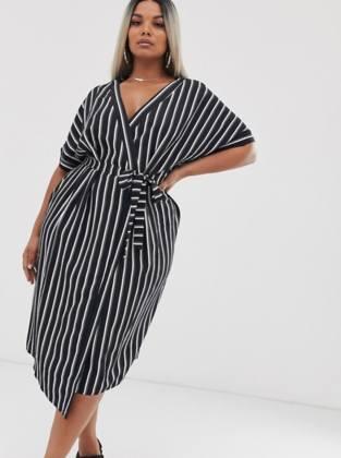 Wrap midi dress in stripe print
