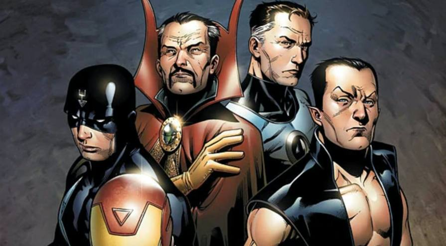 Illuminati poses together in New Avengers: Illuminati Vol.  2 # 1.