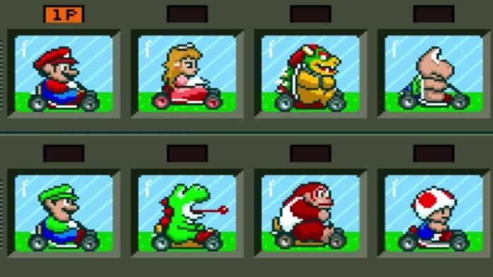 Super Mario Karts character selection screen.  Top level from left to right: Mario, Peach, Arbor, Koopa Troppa.  Lower level: Luigi, Yoshi, Donkey Kong Jr., Toad