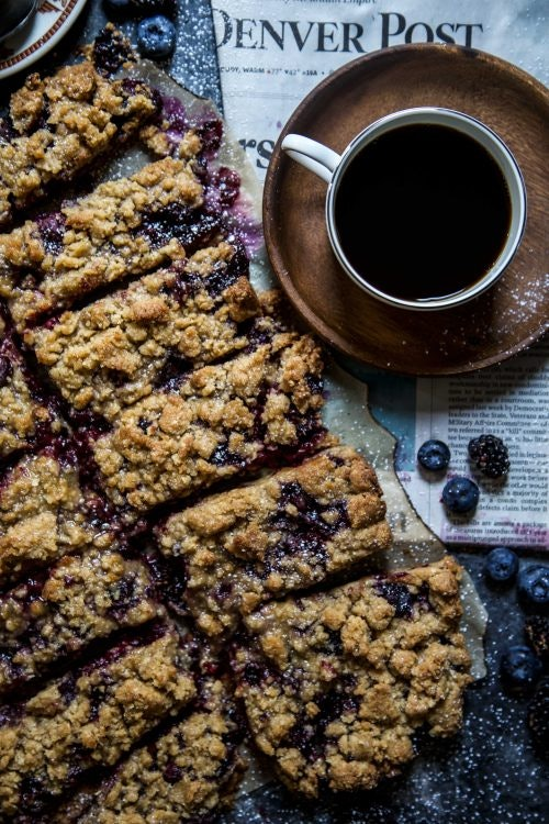 Blackberry Bliss Crumble Bars are an easy summer breakfast idea.