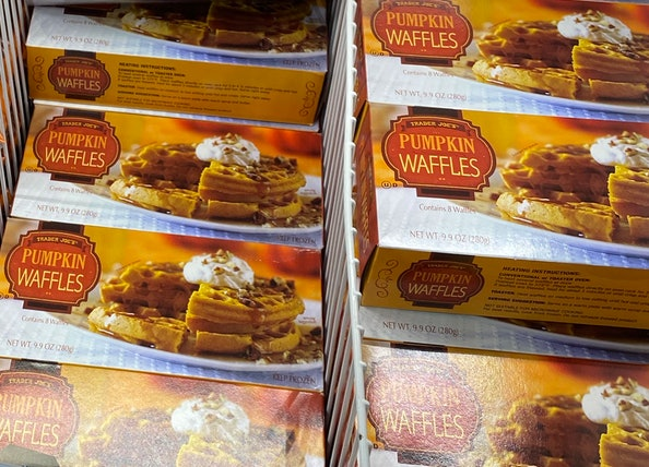 An image of rows of spicy pumpkin waffles.