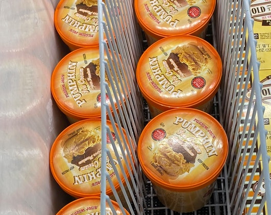 An image of two rows of pumpkin ice cream.