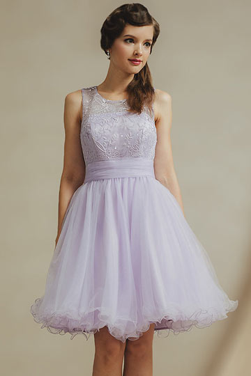Chic lila Knielanges A-Linie Abendkleid aus Tüll