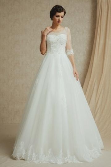 Vintages A-Linie Ivory Bodenlanges Brautkleider mit halb Ärmel Persun