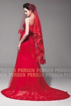 2016 Auffällige Wnderschöne Brautkleid Rot Billig Verkaufen
