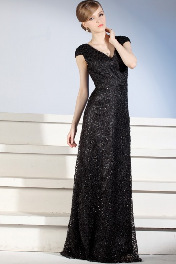 sequins black formal dress with cap sleeves