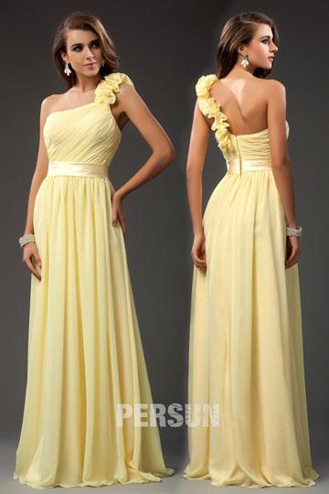 Robe longue jaune asymétrique pour cortège mariage