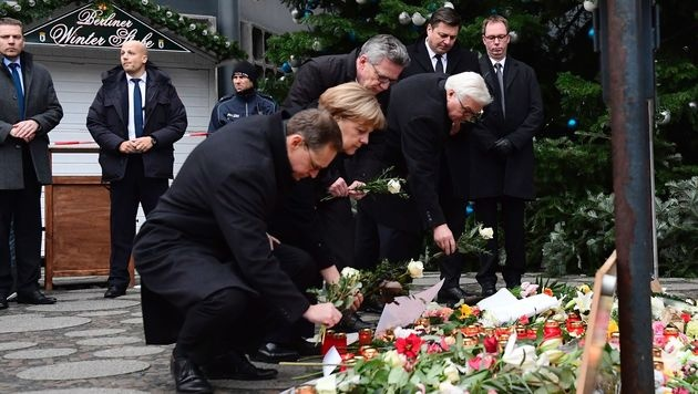 Merkel wurde von Außenminister Steinmeier und Innenminister De Maiziere begleitet. (Bild: APA/AFP/TOBIAS SCHWARZ)
