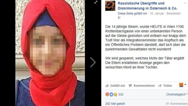 Via Facebook wurde die Geschichte der 14-Jährigen hundertfach geteilt und sorgte für Wirbel. (Bild: Facebook.com/Rassistische Übergriffe (...))