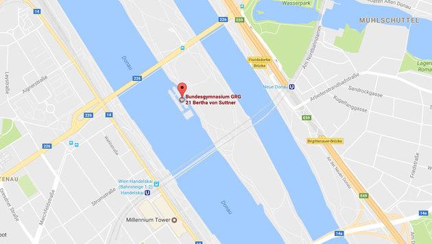 Am Donauinselplatz kam es zur Massenfestnahme. (Bild: google.com/maps)