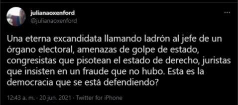 Juliana Oxenford se pronunció sobre la situación política. Fuente: Twitter.