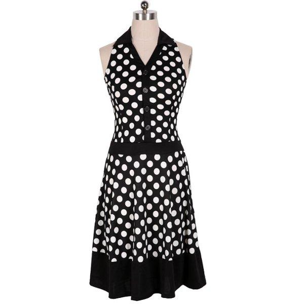 Dot Lapel Dresses