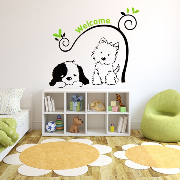 Cat Dog Welcome Wall Stickers Removable Wall Decal Stickers Home Decor