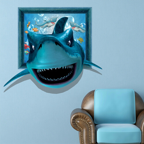 3D Shark Wall Decals Wall Art Painting Stickers 26 Inch