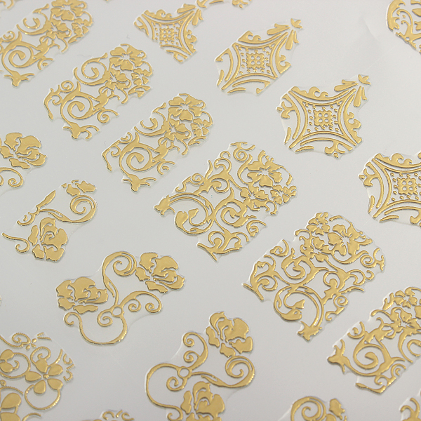 108Pcs Gold Rose Flowers Nail Art Manicures Stickers Decal