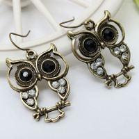 Vintage Black Eyes Rhinestone Owl Drop Earrings For Women ...