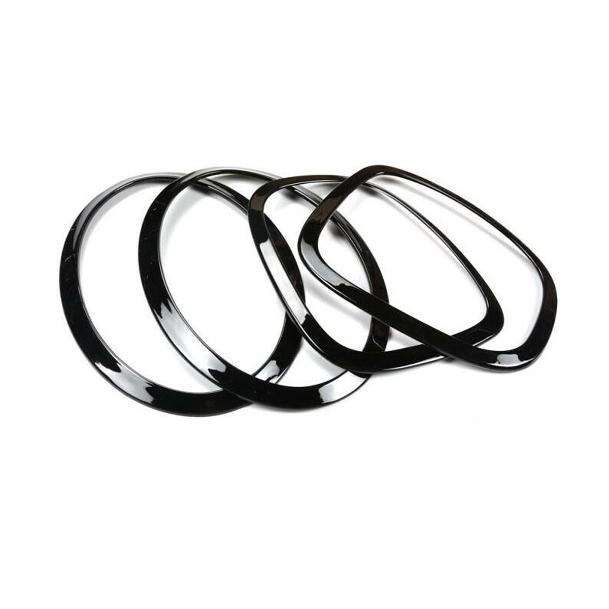 4pcs Black Headlight Head Tail Rear Lamps Trim Ring For