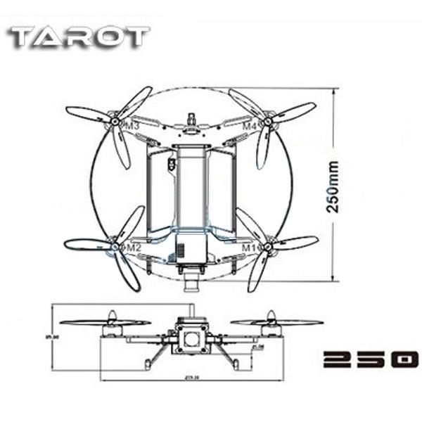 Tarot TL250A Mini 4-Axis Carbon Fiber Quadcopter Frame w