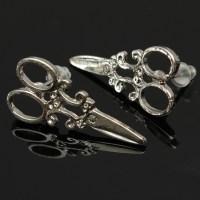 Punk Little Scissor Shaped Earrings Ear Studs For Women ...