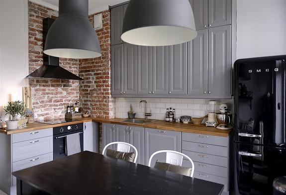 Aranacja szarej kuchni skandynawskiej ze  zdjcie w