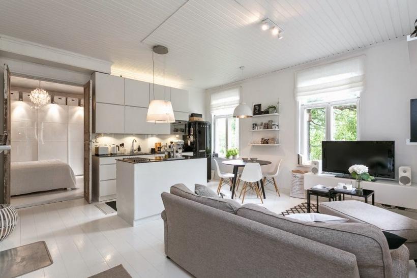Salon poczony z kuchni w otwartej zabudowie  zdjcie w