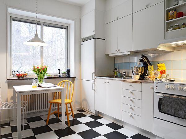 scandinavian kitchen tile designs Czarno-biała podłoga a`la arlekin w białej kuchni - zdjęcie w serwisie Lovingit.pl (17224)