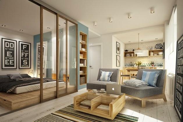 Otwarty salon z kuchni i sypialni z przeszklon