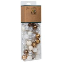 Plastic Pearl & Gold Bubblegum Bead Mix
